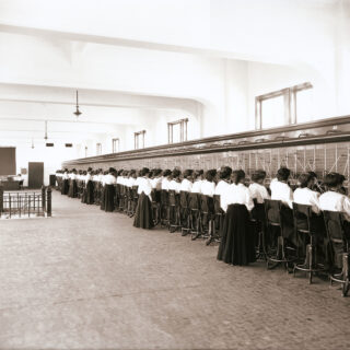 Over 50 women telephone switchboard operators and their supervisors. During this period (circa 1914), only young women (not men) were hired for this type of work at a Salt Lake City, Utah company. This photo was scanned from an 8x10 glass negative contact print. Photo : Jim Varga Pixabay