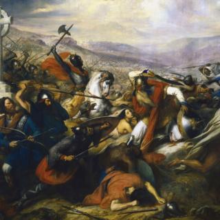 Charles Martel à la bataille de Poitiers, en octobre 732, représentation par Charles de Steuben (1837), Galerie des Batailles, musée d'histoire de France, château de Versailles.